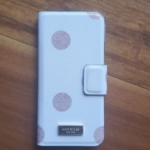 Kate spade Iphone6/6s leather pink shimmery dots